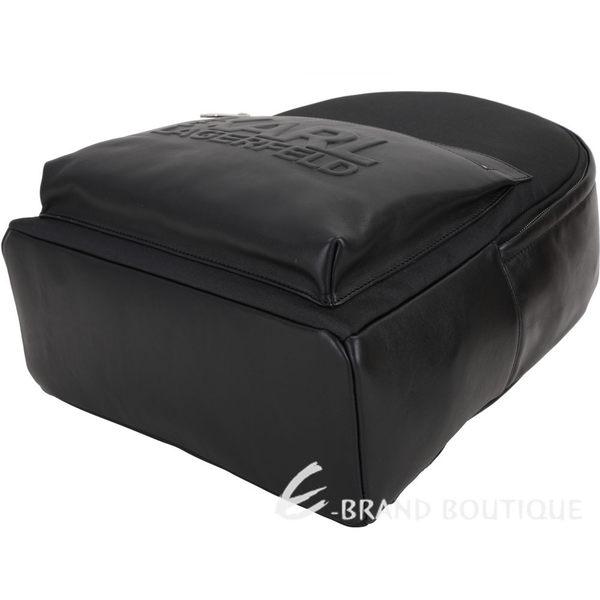 KARL LAGERFELD 皮革拼接厚磅太空棉帆布後背包(黑色) 1920580-01