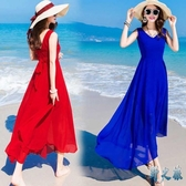 波西米亞長裙沙灘裙女夏2020新款海邊度假裙大擺型顯瘦雪紡連身裙 FX8023