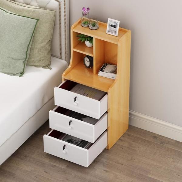 床頭櫃北歐風ins簡約現代床邊臥室帶鎖收納櫃簡易床頭櫃迷你小型 【618特惠】