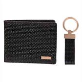 CK 真皮雙折CK浮紋黑色皮夾和配套的鑰匙