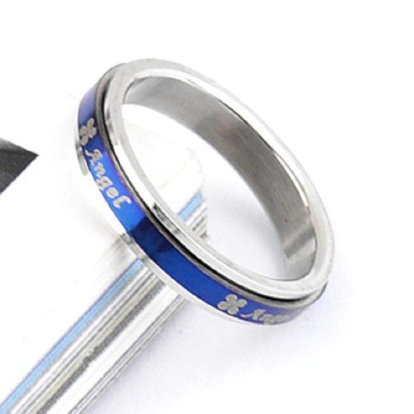 藍色4MM四葉草雙層可旋轉 鈦鋼戒指/指環【魔小物】《現貨》