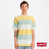 Levis 男款 短袖橄欖球T恤 / 青檸系色票拼接 / 單口袋