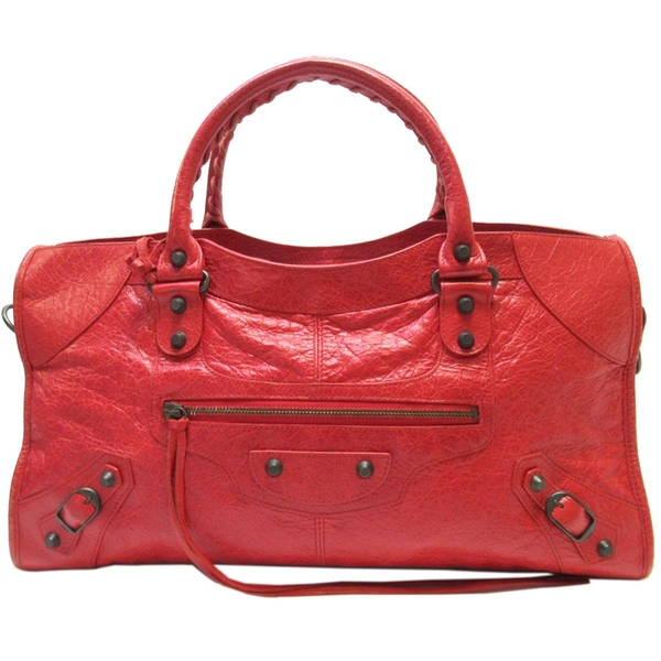 BALENCIAGA 巴黎世家 紅色羊皮手提肩背機車包 Classic Part Time 168028【BRAND OFF】