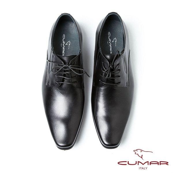 CUMAR男鞋  復古刷色尖頭德比鞋-黑