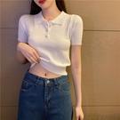 polo衫 2020夏季女裝新款polo領短袖針織小衫學生T恤緊身修身短款上衣服