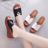 厚底拖鞋 涼拖鞋2020新款韓版坡跟外穿增高外出女拖鞋