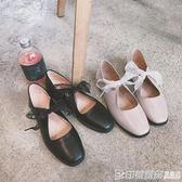 2019春季新款單鞋女方頭淺口低跟平底鞋蝴蝶結芭蕾鞋復古休閒皮鞋 印象家品旗艦店