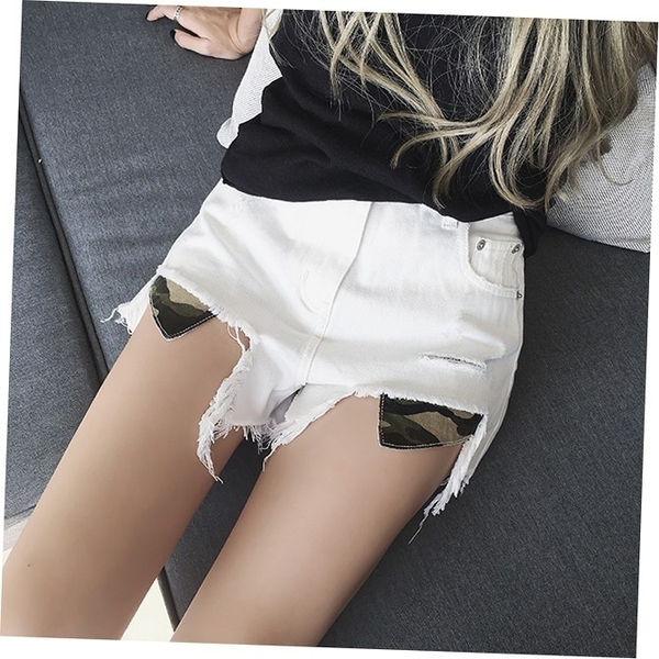 EASON SHOP(GU1547)韓版丹寧割破洞迷彩拼接毛邊抽鬚流蘇撕邊收腰牛仔褲女高腰短褲熱褲修身休閒褲