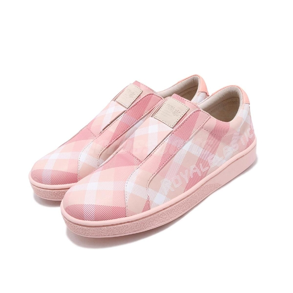 Royal Elastics 休閒鞋 Bishop Checked 粉紅 白 格紋 無鞋帶設計 橡膠大底 女鞋【ACS】 91791111