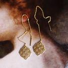 古典蕾絲鏤空雕花925純銀長耳線/設計家