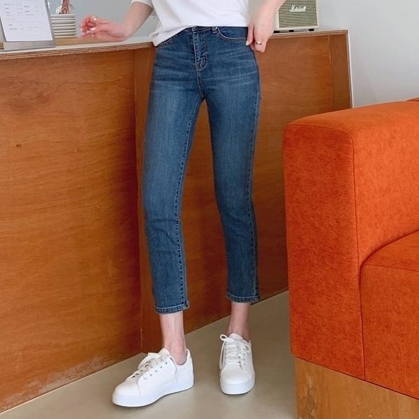 韓國製.街頭百搭刷色修身九分牛仔長褲.白鳥麗子