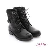 effie 個性美型 防潑水麂皮扣帶綁帶中筒靴 黑