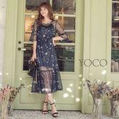 東京著衣【YOCO】女神飄逸兩件式網紗透膚星空洋裝-S.M.L(181154)
