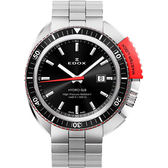 EDOX Hydro Sub 北極潛水500米石英腕錶-黑x紅/46mm E53200.3NRM.NIN