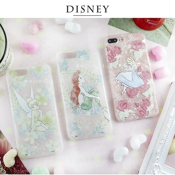 Disney迪士尼iPhone 7/8 Plus五彩貝殼系列手機殼_花朵系列
