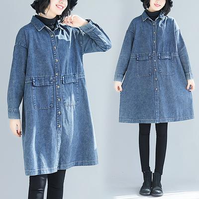 大碼女裝 大碼牛仔wit 大碼牛仔開衫 中長款牛仔女長袖268F2F135衣時尚