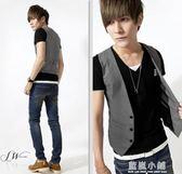 韓版 夏男士小馬甲男青少年黑白加大碼休閒薄款西裝背心馬夾潮流 藍嵐