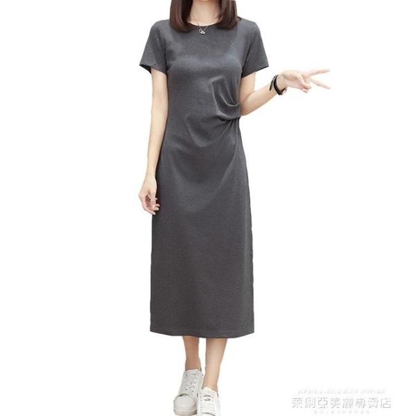 大碼女裝夏季新款短袖胖妹妹連身裙寬鬆收腰洋氣遮肚子過膝中長裙 萊俐亞