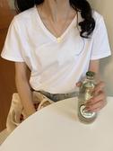 短袖T恤 白色t恤女短袖ins超火年夏季韓版寬鬆純色女t桖v領上衣女 韓流時裳