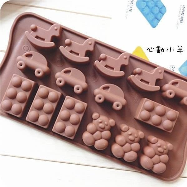 心動小羊^^耐高溫木馬、汽車、熊熊矽膠巧克力模 蠟燭果凍布丁模製冰格翻糖 香磚 迷你皂模