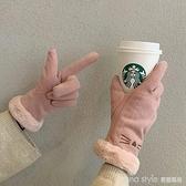 手套女冬天保暖加厚可愛in潮韓版卡通防風學生加絨五指手套騎行 新品全館85折