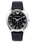 EMPORIO  ARMANI雅痞設計款三眼計時男性手錶(AR1700)-黑面x黑/44mm