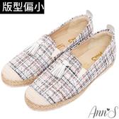 Ann'S日本進口毛呢真皮流蘇平底懶人鞋-粉