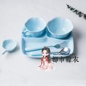 陶瓷分隔盤 兒童餐盤陶瓷套裝餐具家用小孩幼兒園學生食堂分格飯盤碗分隔 3色