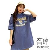 EASON SHOP(GW5712)實拍撞色字母印花薄款長版OVERSIZE短袖T恤裙連身裙女上衣服落肩寬鬆素色棉T內搭