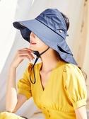 凡飾 帽子女夏天遮陽帽遮臉太陽帽防紫外線防曬帽可扎馬尾空頂帽