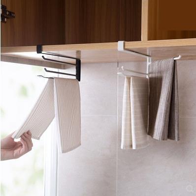 鐵藝旋轉三桿抹布架廚房櫥櫃掛毛巾架浴室免打孔掛架毛巾桿掛桿 小明同學