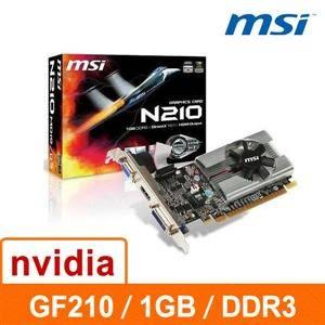【綠蔭-免運】微星 N210-MD1G/D3 1G DDR3 64bit PCI-E 3D圖形加速卡