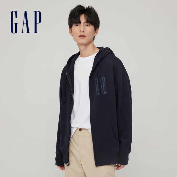 Gap男裝 碳素軟磨系列 Logo法式圈織開襟連帽外套 888647-海軍藍