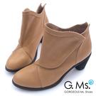G.Ms. 全牛真皮三角側釦粗跟踝靴-杏...