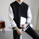 男士毛衣 秋季男士無袖毛衣背心寬鬆純色打底衫針織衫正韓馬甲潮流【快速出貨】