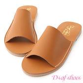 拖鞋 D+AF 愜意搭配.超軟一字平底涼拖鞋*棕