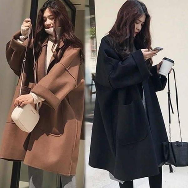 2020韓版秋冬純色學院風寬鬆翻領中長款羊毛呢子外套風衣大衣女潮 浪漫西街