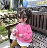 女童長袖上衣-兒童寬鬆假兩件衛衣新款韓版洋氣寶寶上衣女童長袖T恤春秋裝 花間公主