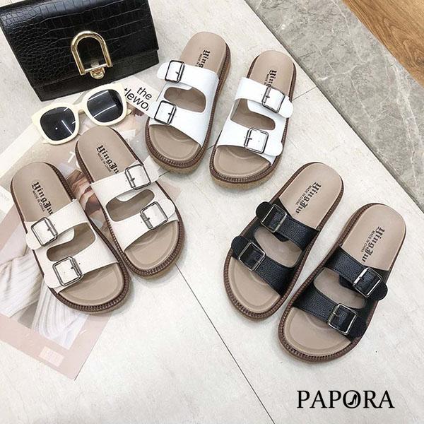 PAPORA雙釦休閒厚底涼拖鞋KP6白/米/黑