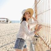 防曬衣 甜美外搭蕾絲繡花雪紡開衫短款寬鬆沙灘防曬衫女裝上衣空調小披肩