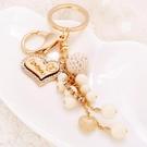 韓國可愛串珠鑰匙扣女創意小清新汽車鑰匙錬掛件圈環情侶包包掛飾 黛尼時尚精品