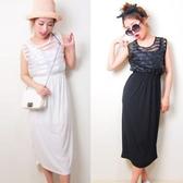 ENTER 無袖洋裝 條紋網紗拼接收腰無袖洋裝連身裙