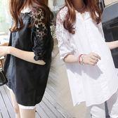 新款春夏裝韓版大碼襯衫女胖mm短袖t恤蕾絲