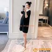 洋裝連身裙孕婦裝短袖寬松休閑素色韓版中長款夏季孕婦T恤連身裙子【小桃子】