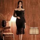 蕾絲洋裝 韓版連身裙女秋冬性感一字肩修身時尚包臀荷葉邊裙潮