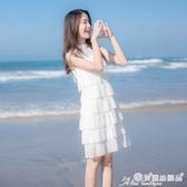 蛋糕裙 2020夏季新款白色連身裙仙女超仙森系法式顯瘦氣質蛋糕裙雪紡裙子 愛麗絲