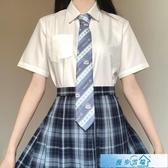 JK制服刺篇原創jk制服日系角襟丸襟短袖襯衫基礎款黑白尖領圓領襯衫女 漫步雲端