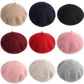 618好康鉅惠紅色羊毛呢貝雷帽女秋冬甜美可愛日系蓓蕾帽