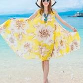 雪紡印花連身裙度假大擺沙灘裙橘色Mandyc