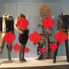 ►壁貼 新年裝飾牆貼 紅燈籠 玻璃靜電貼櫥窗商店貼紙【A3100】